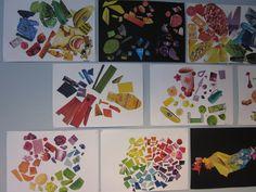 Väriympyrä - pää- ja välivärit, aikakausilehdet, kollaasi