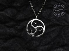 BDSM Symbol Pendant Bondage Jewelry Fetish Necklace Masochism Keychain Leather Pride Logo SM Emblem Triskele Sign Triskelion Medallion S&M
