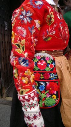 Lovely colourful embroidery on wool. pretty folk art folklore fashion jacket boho chic, mexican , gypsy style for winter 2014