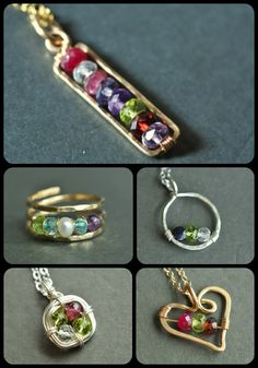 These custom birthstone jewelry designs made with genuine gemstones are great gifts for moms, sisters, best friends and daughters --  from muyinjewelry.com (aka muyinmolly on Etsy)