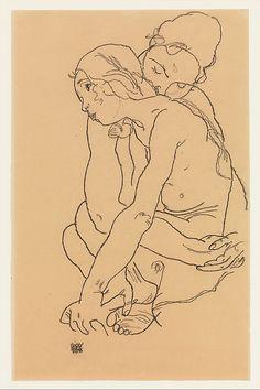 Two Women Embracing - Egon Schiele