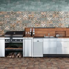 Reminiscent Multi Decorative Tile, Tile Ideas, Kitchen Flooring, Tiles,  Fun, Interior