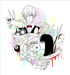 Pixiv; death parade, decim, chiyuki, banner, anime, fanart