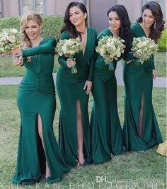 Hunter Green Sexy Split Bridesmaid Dresses Deep V Neck Long Sleeves Sweep Train 2016 Custom Made Maid Of Honor Wedding Party Guest Gowns 2016 Hunter Green Bridesmaid Dress Long Sleeves Maid of Honor Gown Wedding Accessories Online with $108.45/Piece on Whiteone's Store | DHgate.com