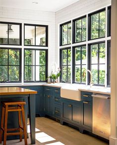 dark windows and bluish lowers%categories%Kitchen|Farmhouse|Pantry|Sinks