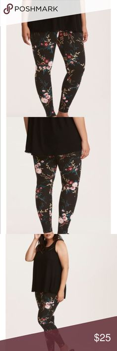 NWT torrid size 3 black floral leggings NWT torrid size 3 black floral leggings . We never thought we'd say that a pair of leggings could bring the romance, but hey, here we are. This black knit full length pair fits you like a second skin with a stretch waistband. But the floral print is all aww-worthy with a vintage-inspired aesthetic. torrid Pants Leggings