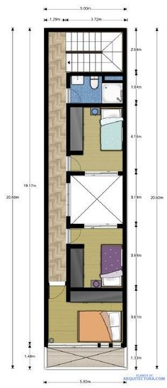 Conversion to single rooms possible Narrow House Designs, Narrow House Plans, Small House Design, House Floor Plans, Flat Plan, Model House Plan, Duplex Plans, Beautiful Home Gardens, Casa Patio