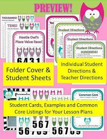 Fern Smith's Classroom Ideas!: Fern's Freebie Friday ~ Hootie Owl's Hundreds Place Value Race!