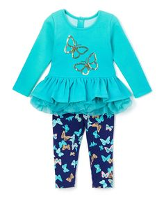 Loving this Kidtopia Ceramic Butterfly Peplum Top & Leggings - Toddler & Girls on #zulily! #zulilyfinds