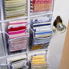 Shoe holder used for ribbons & card making items.  Clever!