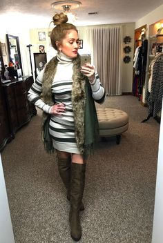 Faux Fur Vest and Sweater Dress, Over the knee boots, Top Knot, Holiday outfit idea,Over 40 style #linkupwithlisa