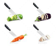 Kitchen Knife and Vegetable 3D Set