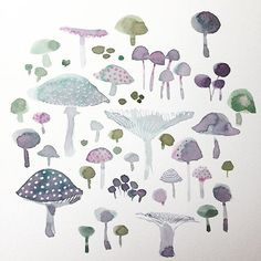 Trying to make this really textured paper work for me  #watercolor #coldpress #mushrooms #pattern #color #surfacepattern #illustratorsoninstagram #imaginary #nature #woodland