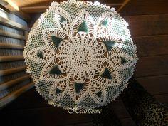 Beaded ivory doily green star pattern fancy by HeartsomeHalos, $15.00
