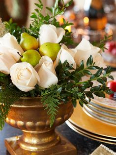 Nothing beats the fragrance of fresh roses. Include an arrangement in your holiday decorations by placing your favorite variety in a pretty, festive pot. Fill in with bits of fern and evergreen. Crisp fruit, such as pears or apples, make great fillers.