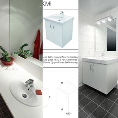 My downstairs bathroom/laundry will look somewhat like the first picture. Only with a darker countertop.  I love the big mirror that covers the whole width of the wall.   The upstairs bathroom will have a vanity cabinet with only one door, and a covering sink. (See next picture)