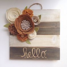 Felt flower sign Pallet sign Pallet with by TheHappyDoorWreaths