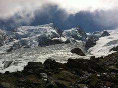 Mont-blanc du Tacul , Maudit et Mont Blanc depuis la Jonction (glacier des Bossons et Taconnaz)