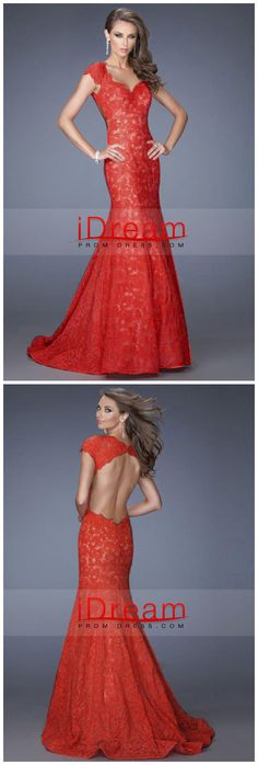 Mermaid Long Black Red Lace Open Back Formal Dresses