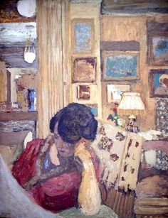 Mme Hessel Seated in front of A Glassed Armoire by Edouard Vuillard (France)