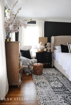 Our Master Bedroom with Some Spring Blossoms - Dear Lillie Studio Dream Bedroom, Home Decor Bedroom, Bedroom Chair, Master Room, Master Bedroom Redo, Cozy Room, Bedroom Styles, My New Room, Beautiful Bedrooms