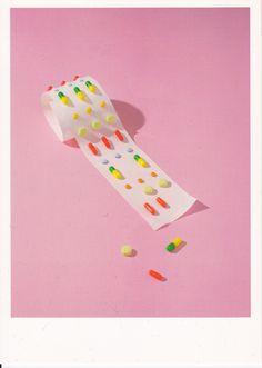 pills on pink