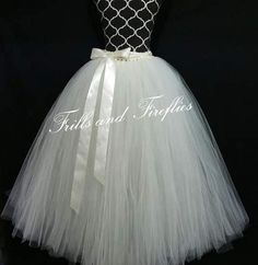 Adult Long White or Ivory Bridal Tutu Skirt, Long Flower girl Wedding Tutu Skirt, ..ANY COLOR! Ask About Children's Size Also...