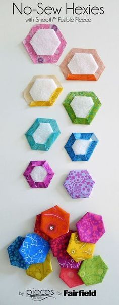 Sewing Quilts No-Sew Hexies using Smooth fusible fleece - Make hexies in minutes with this easy no-sew method using Smooth™ Fusible Fleece. Hexies are an easy way spice up all sorts of sewing projects. Quilting Tips, Quilting Tutorials, Quilting Projects, Quilting Designs, Sewing Projects, Craft Projects, Patchwork Quilt, Mini Quilts, Hexagon Patchwork