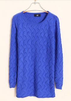 Women Autumn Slim Scoop Long Sleeve Hollow Blue Knitting Sweater One Size@WH0065bl