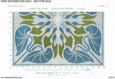 D.M.C. Point de Croix Nouveaux Dessins (1re Série) page 22. Art nouveau borders, green and blue, leaves
