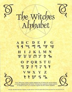 The Witches Alphabet Witch Spell Book, Witchcraft Spell Books, Magick Spells, Witchcraft Symbols, Voodoo Spells, Green Witchcraft, Healing Spells, Witch Symbols, Magic Symbols
