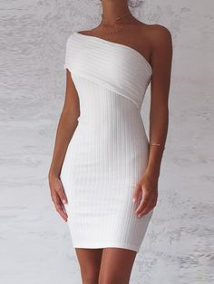 15da1e6b09d0 Shop One Shoulder Fold-Over Ribbed Bodycon Dress – Discover sexy women  fashion at IVRose