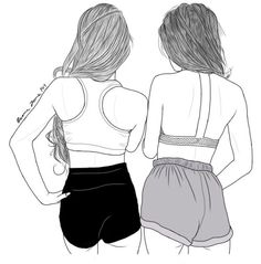friendships draw art girls shorts top sports ass dash hair outline