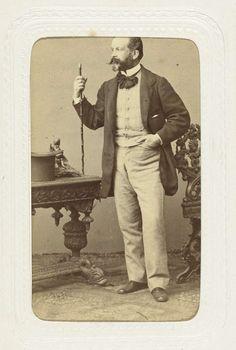 Man with cane and hat | Studioportret van een man met snor, wandelstok en hoge hoed | Abdullah Frères | ca. 1863 - ca. 1866