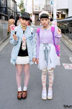 Harajuku girls wearing kawaii fashion from Candy Stripper, Jouetie, & Bubbles. Japanese Street Fashion, Tokyo Fashion, Harajuku Fashion, Kawaii Fashion, Lolita Fashion, Pink Fashion, Fashion Photo, Fashion Walk, Fashion 2014
