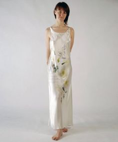 2e4f4da4eb White Silk Women s Long Nightgown (Swans and Daffodils) Luxury Gifts for  Her http