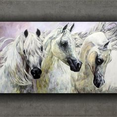 White Arabian Horses / Weiße Arabische Pferde Jana Fox & Oleg Dyck [J&O Art Studio Cologne] 45.3 '' x 27.5 '' | 115 x 70 cm Alkyd, acrylic, Oil on canvas | Alkyd, Acryl, Öl auf Leinwand 2015 Available | Erhältlich in J&O ART SHOP