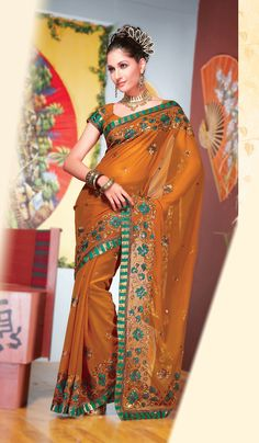 Indian #Fashionable Yellow #Saree