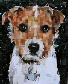 Paper Collage Art, Collage Artwork, Painting Collage, Paper Artwork, Mixed Media Collage, Encaustic Painting, Dog Quilts, Animal Quilts, Watercolor Illustration