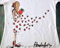 Tshirt di colorfil Portret di donna. Arte di palettePandora