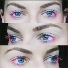 If you're gonna do it at home, it's best to start by putting on a clear mascara as a base and then swiping on various shades of mascara on your upper and lower lashes. Clear Mascara, Mascara Tips, How To Apply Mascara, Rainbow Eyes, Rainbow Makeup, Makeup Tips, Beauty Makeup, Eye Makeup, Makeup Ideas