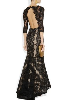 Alice + Olivia Jae backless lace gown