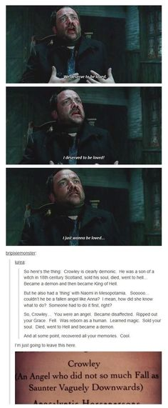 I love Crowley. I cant show my love for supernatural openly because I then say stuff like that and people think I am crazy. Castiel, Sammy Supernatural, Crowley Spn, Supernatural Pictures, Supernatural Imagines, Sam Dean, Dean Winchester, Impala 67, The Maxx