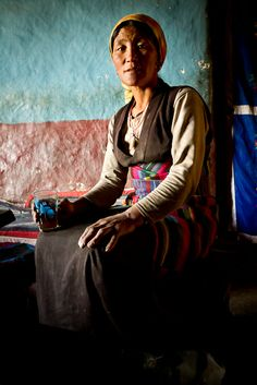 Woman in her kitchen - Upper Mustang, Nepal