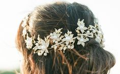 Gold Bridal Headpiece, AGNES Bridal Leaf Headpiece, Pearl Bridal Headpiece, Gold…