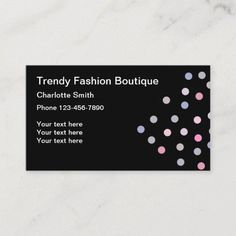 Trendy Fashion Modern Business Card Fashion theme business cards in a trendy design with random polka dots and classic business card layout. #Fashion Classic Business Card, Business Cards Layout, Modern Business Cards, Fashion Business Cards, Fashion Themes, Fashion Boutique, Trendy Fashion, Dots, Things To Come