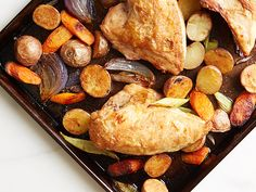 Enjoy a healthy version of Sunday roast chicken dinner in only 40 minutes. And save big by carving up three roasted chicken breasts for four people (it's plenty). If you buy a four-pack, roast the fourth breast and set aside to add to a green salad or soup later in the week.