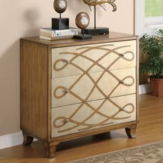 Inspiration for re-doing our sideboard. I want to paint the drawers silver and and a design like this. Coaster Antique oak finish wood bombe console 3 drawer chest with silver finish front with scroll design from Sears. Find Furniture, Accent Furniture, Painted Furniture, Home Furniture, Lobby Furniture, Painted Dressers, Quality Furniture, Furniture Stores, Furniture Design