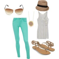 Summer Casual, created by on Dorothy Perkins Mommy Style, Style Me, Cute Summer Outfits, Cool Outfits, Cruise Outfits, Cruise Clothes, Teal Skinny Jeans, Outfit Sets, Spring Summer Fashion