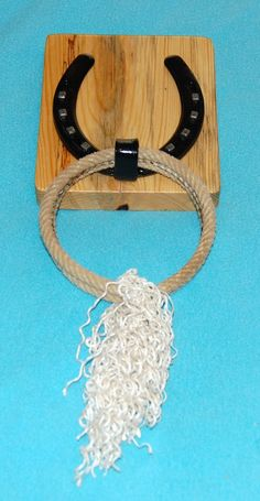 Items similar to Horseshoe Lariet Lasso Rope Old Barn Pine Wood Bath Or Kitchen Hand Towel Rack Holder on Etsy